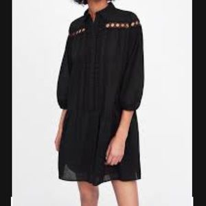 Zara Black Poplin Dress